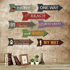 Vintage Style Arrow Shaped Cast Iron Sign for Home Cafe Pub Wall Decor Plaque