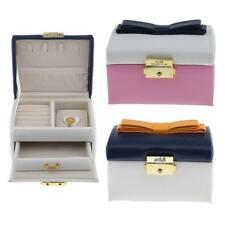Cute Bowknot 2 Layers Leather Velvet Jewelry Box Lockable Portable Travel Case