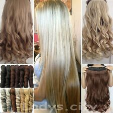 UK Real Thick One Piece Long Straight Curly Clip In Hair Extensions Fake Hair Mp