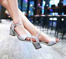 Women Block Heels Kitten Heels Ankle Strappy Bling Bling Sexy Sandals Shoes