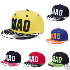 Boy Girl Kids MAD Letter Embroidery Hip Hop Hat Adjustable Snapback Baseball Cap