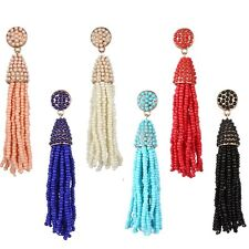 Women Boho Handmade Seedbeads Tassel Chandelier Long Dangle Earrings Jewelry New