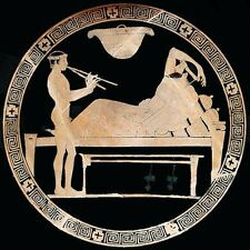 Aulos-Player at Symposium (classic Greek art print)