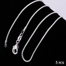 Fashion 5pcs 925 Sterling Solid Silver Necklace 1mm Snake Chain 16-30inch TL
