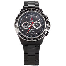 Shark Mens Quartz Chronograph Date Stainless Steel Analog Sport Army Wrist Watch
