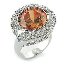 Silver Simulated Topaz Deco Cocktail Ring Rhodium Plated Peach CZ Size 9 10 USA