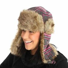 New Mens Womens Unisex Fur Plaid Check Trapper Warm Winter Thermal Hat A307
