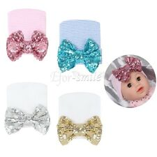 Newborn Baby Infant Girl Toddler Knitted Hospital Cap Beanie Hat Sequins Bow