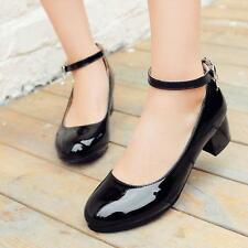 Womens Pumps Patent Leather Lolita Mary Jane Cuban Heel Ankle Strap Casual Shoes