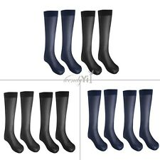 2 Pairs Men Striped Thin Breathable Over-the-Calf Crew Business Silk Socks