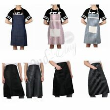 Women Men Cooking Kitchen Restaurant Coffee Denim Apron Pocket Dress Adjustable