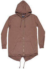 Rise As 1ne Solid Fishtail Cape Elongated Jacket Long RS1NE Hoodie Brown Mens