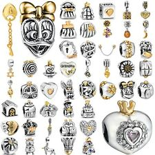 Gold plated 925 silver charms bead For lot PAN sterling Bracelets Bangle Chain