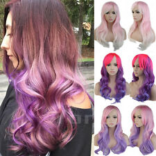 Women Anime Full Wigs Long Wavy Fiber Hair Cosplay Costume Party Synthetic Wig #
