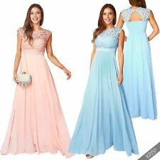 Womens Ladies Pearl Lace Formal Cocktail Chiffon Long Maxi Dress Party Wedding