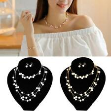 Fashion Women Multilayer Pearl Necklace Pendant Chain And Earrings Jewelry Set