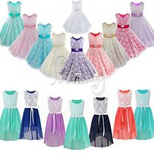 Kid Princess Pageant Flower Girl Birthday Wedding Lace/Chiffon Formal Prom Dress