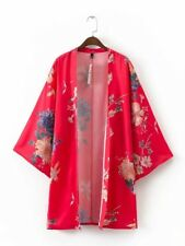 New Womens Ladies Floral Print 3/4 Sleeve Red Cardigan Kimono Loose Coat