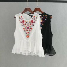 Womens Sweet Sleeveless Floral Embroidery Ruffled Pullover Blouse Shirt Tops