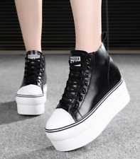 New Womens High Top Sneakers Platform Lace Up Round Toe Flat Creeper Sport Shoes