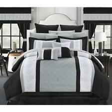 Chic Home Dylania Embroidered Black and Grey 24-piece Bed in a Bag with Sheet