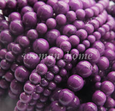New Purple Round High Imitation Gemstone Spacer Loose Beads 4MM 6MM 8MM 10MM DIY