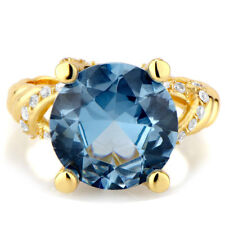 Sterling Silver Blue Cubic Zirconia Cocktail Ring