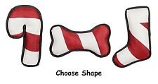 Peppermint Stripe Holiday Dog Toys Red White  Choose Candy Cane Stocking or Bone