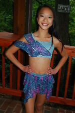 Purple slate blue custom competition lyrical dance costume   CM CM/L