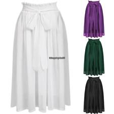 ACEVOG Women Pleated Retro Maxi Long Skirt Elastic Waist Chiffon Dance Dress