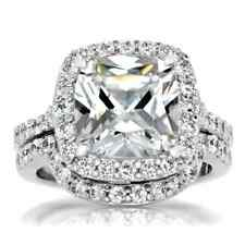 Sterling Silver Cushion Cut Cubic Zirconia Wedding Ring Set