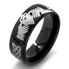 Black-plated Stainless Steel Men's Claddagh Ring Black