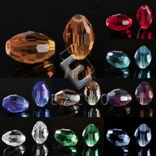 72pcs Rice Crystal Loose Beads Spacer Craft Center Drilled Jewelry Making 6x9mm