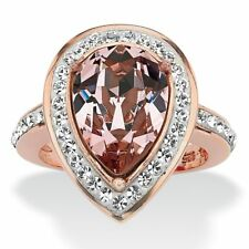 Pear-Cut Rose Crystal Cocktail Ring MADE WITH SWAROVSKI ELEMENTS Rose Gold over