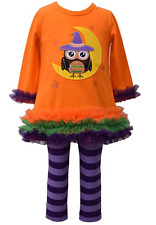 Bonnie Jean Girls Halloween Owl Witch Applique Fall Knit Dress Leggings 2T 3T 4T