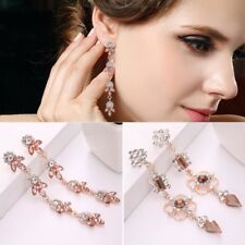Fashion Rose Gold Crystal Rhinestone Dangle Drop Earrings Women Wedding Jewelry