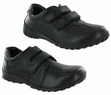 Leather F&F Branded School Work Shoes Black Touch fastener Smart Wedding Boys