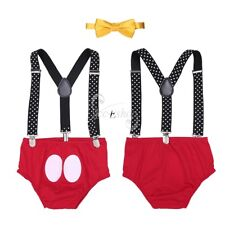Infant Baby Boys Y Back Elastic Clip Suspenders &Bloomers& Bowtie Outfit Clothes