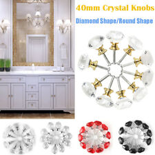 10 pcs Diamond Crystal Glass Door Drawer Cabinet Wardrobe Pull Handle Knobs 40mm