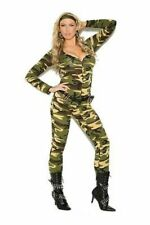 Sexy Adult Women's Halloween Costume Army Camouflage Jumpsuit Military Cosplay