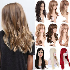 UK Ladies Long Straight Full Wig Fibre Synthetic Heat Resistant With Bangs Wigs