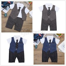 Infant Baby Boy Formal Suit Party Wedding Gentleman Romper Jumpsuit Outfit