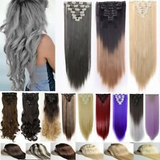 8 Pieces thick long Extension real as Human hair clip in hair extensions new UK
