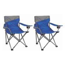 2) Coleman Camping Outdoor Beach Folding Big-N-Tall Oversized Quad Chairs, Blue