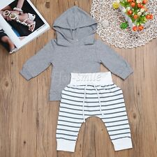 Newborn Kids Baby Boys Tops Hoodie+Striped Long Pants 2Pcs Outfits Set Clothes