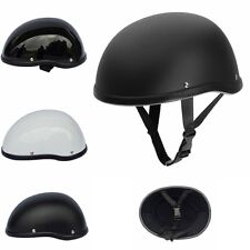 Dot Matte Black Motorcycle Half Helmet Skull Cap Hat For Harley Chopper Bobber