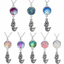 Vintage Silver 3D The Mermaid Fish Dragon Scale Ball Pendant Necklace Jewelry