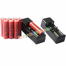 8x 3.7V 18650 Li-ion 6800mAh Rechargeable Battery +2x 18650 Charger