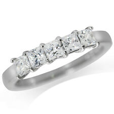 5-Stone Cubic Zirconia (CZ) White Gold Plated 925 Sterling Silver Ring