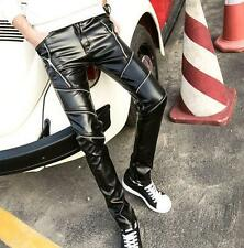 punk mens slim fit PU leather motorcycle trousers skinny casual pants Fashion T9